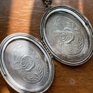 Vintage Silver Locket with Rose Etching
